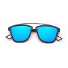 JRS  S20B5283 Blue Mirror Retro Square Sunglasses for Men and Women